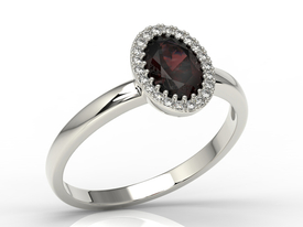 Diamond & garnet 14ct white gold ring AP-49B