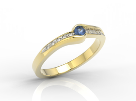 Diamond & sapphire 14 ct yellow gold ring 0,05ct BP-3413Z-R