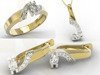 Diamond set - ring, earrings and pendant 14ct yellow & white gold JP-66ZB-ZEST