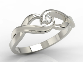 Diamond solitaire 14ct white gold ring AP-96B