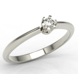 Diamond solitaire 14ct white gold ring JP-2506B