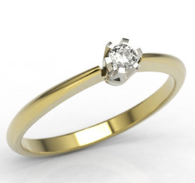 Diamond solitaire 14ct white & yellow gold ring JP-2504ZB