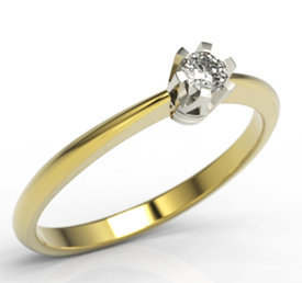 Diamond solitaire 14ct white & yellow gold ring JP-2508ZB
