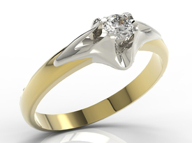 Diamond solitaire 14ct yellow & white engagement gold ring AP-1316ZB