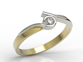 Diamond solitaire 14ct yellow & white gold ring 0,08 ct H/Si  AP-3208ZB