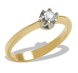 Diamond solitaire 14ct yellow & white gold ring 0,12ct  AP-1012ZB