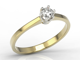 Diamond solitaire 14ct yellow & white gold ring AP-1720ZB