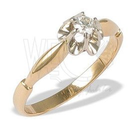 Diamond solitaire 14ct yellow & white gold ring CP-2012ZB
