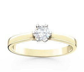 Diamond solitaire 14ct yellow & white gold ring LP-8027ZB