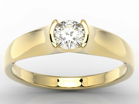 Diamond solitaire engagement gold ring 0,36ct BP-2636Z