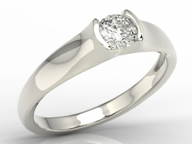 Diamond solitaire engagement white gold ring 0,36ct BP-2636B