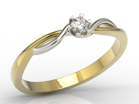 Diamond solitaire yellow & white 14ct gold engagement ring AP-8710ZB