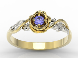 Diamond & tanzanite 14ct white & yellow gold ring in the shape of a rose LP-7715ZB