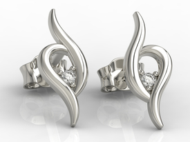 Diamonds 14ct white gold earrings APK-84B