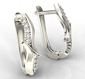 Diamonds 14ct white gold earrings LPK-76B