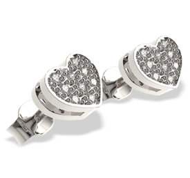 Diamonds 14ct white gold earrings in the shape of a heart LPK-40B
