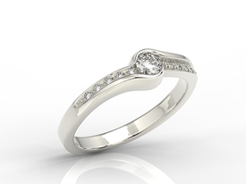 Diamonds 14ct white gold engagement ring 0,19ct BP-3419B
