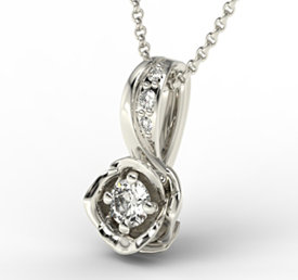 Diamonds 14ct white gold pendant LPW-4221B