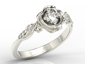 Diamonds, 14ct white gold ring in shape of rose LP-7730B