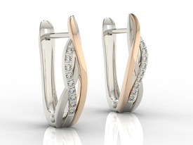 Diamonds 14ct white & pink gold earrings LPK-73BR 0,09 ct
