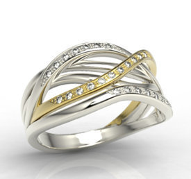Diamonds 14ct white & yellow gold ring LP-69BZ