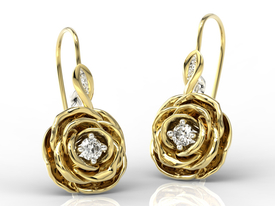 Diamonds 14ct yellow gold earrings in the shape of a rose APK-95ZB