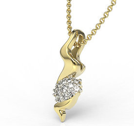 Diamonds 14ct yellow gold pendant LPW-20Z-R