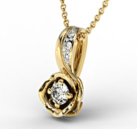 Diamonds 14ct yellow gold pendant LPW-4221Z-R