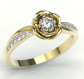 Diamonds 14ct yellow gold ring in the shape of a rose LP-4234Z-R