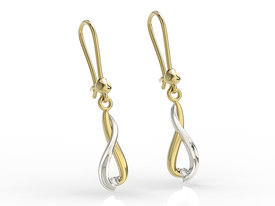 Diamonds 14ct yellow & white gold earrings APK-96ZB