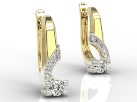 Diamonds 14ct yellow & white gold earrings JPK-66ZB