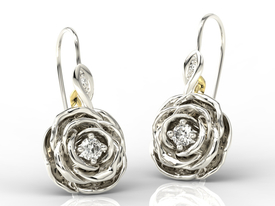 Diamonds 14ct yellow / white gold earrings in the shape of a rose APK-95BZ