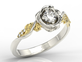 Diamonds, 14ct yellow & white gold ring in shape of rose LP-7730BZ