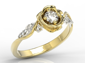 Diamonds, 14ct yellow & white gold ring in shape of rose LP-7730ZB