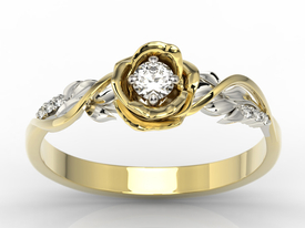 Diamonds 14ct yellow & white gold ring in the shape of a rose LP-7715ZB