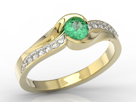 Diamonds & emerald 14ct gold engagement ring AP-6139Z-R
