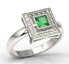 Diamonds & emerald 14ct white gold LP-68B