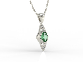 Diamonds & emerald 14ct white gold pendant APW-80B