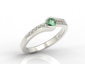 Diamonds & emerald 14ct white gold ring 0,05ct BP-3419B