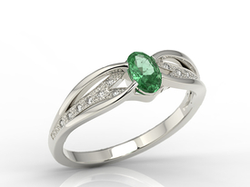 Diamonds & emerald 14ct white gold ring LP-39B
