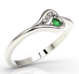 Diamonds & emerald, 14ct white gold ring LP-98B