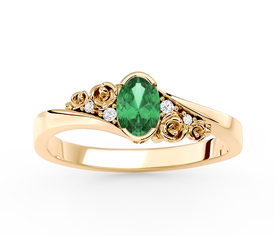 Diamonds & emerald 14ct yellow gold ring AP-39Z 0,03 ct