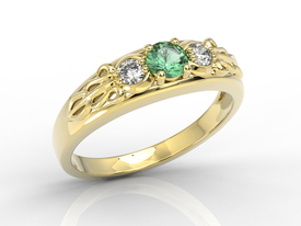Diamonds & emerald 14ct yellow gold ring BP-49Z