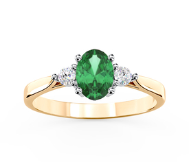 Diamonds & emerald 14ct yellow & white gold ring AP-31ZB