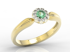Diamonds & emerald 14ct yellow & white gold ring AP-42ZB