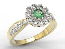 Diamonds & emerald 14ct yellow & white gold ring JP-95ZB-R