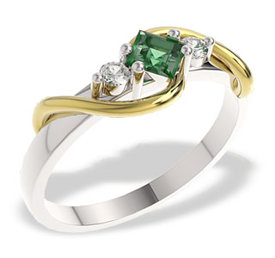 Diamonds & emerald 14ct yellow & white gold ring LP-32BZ