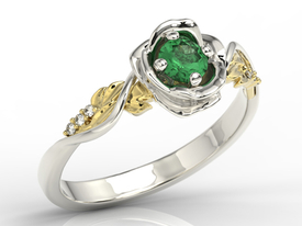 Diamonds & emerald white & yellow gold ring in the shape of rose LP-7730BZ