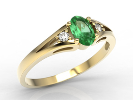 Diamonds & emerald yellow gold ring JP-22Z