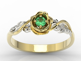 Diamonds & emerald, yellow & white gold ring in the shape of rose LP-7715ZB